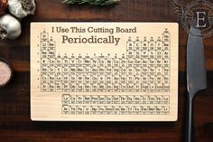 Periodic Table Cutting Board Engraved Wood by ElysiumWoodworks
