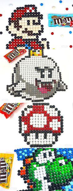 Pixel Art Nintendo Characters made of M&Ms - Pixel art Nintendo characters made of M&M pieces. Food Art Painting, Black Art Painting, Painting For Kids, Cute Art Projects, Toddler Art Projects, Legend Of Zelda, Art Ideas For Teens, Super Mario Art, Candy Art