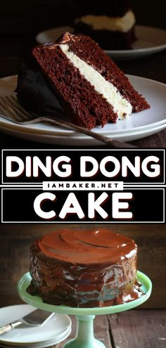 Ding Dong Cake is a chocolate whoopie pie with a glorious cream filling, modified into a decadent and delicious cake recipe! This easy chocolate dessert to impress is the best cake recipe ever! Pin this recipe. Easy Chocolate Desserts, Chocolate Cake Recipe Easy, Fancy Desserts, Cookie Desserts, Baking Desserts, Delicious Cake Recipes, Best Cake Recipes, Yummy Cakes, Dessert Recipes