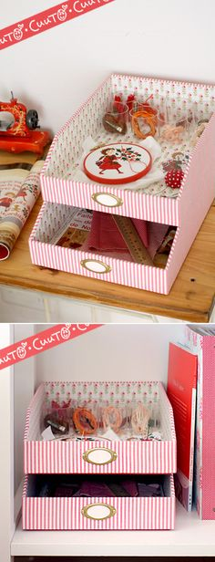 stacking trays - cereal boxes should work just fine :) Diy Storage Boxes, Craft Room Storage, Craft Organization, Tube Carton, Deco Originale, Fabric Boxes, Altered Boxes, Cardboard Crafts, Diy Box