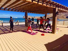 Yoga led by Beth Manos from Tasty Yummies during December Wellness 2018 at Villa del Palmar Islands of Loreto Brittany, Islands, Pergola, December, Villa, Tasty, Wellness, Outdoor Structures, Yoga