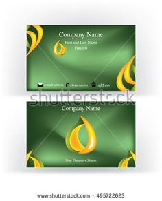 Professional #green #business #card with abstract #drop shape logo symbol