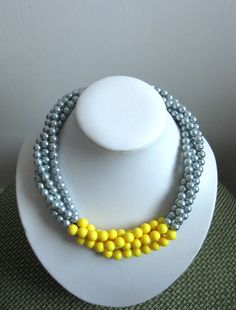 Yellow Necklace, Silver/ Gray Glass Pearl Necklace, Twisted Necklace, Wedding Jewelry, Bridal Jewelry