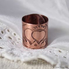 Copper ring with Two Hearts and Crown  Lovely by AnnTitovaDesign