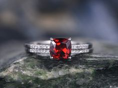 Red Garnet engagement ring Set in white gold by willwork on Etsy