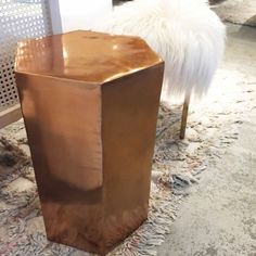 copper stool + faux fur stool