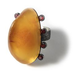 Jan Suchodolski / Ring with amber / 2014 If you would like to buy any of the items, just send me an email. In the email you can include a link to the item that you are interested in. Amber Jewelry, Stone Jewelry, Metal Jewelry, Jewelry Art, Jewelry Rings, Jewelery, Jewelry Design, Unusual Rings, Handmade Rings