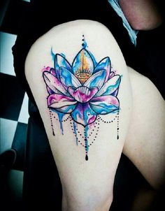 Watercolor lotus thigh tattoo - 70 Elegant Lotus Tattoo Designs <3 <3