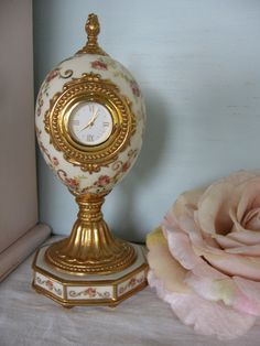Faberge Porcelain Rose Egg Clock   Limited Edition by Fannypippin, $40.00