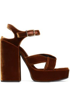 Jil Sander - Velvet Platform Sandals - Copper - IT37.5