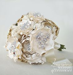 gold bling wedding bouquets | Pin Accessories Wedding Bouquet Bridesmaids Diy Flowers Gold Jewelry ...