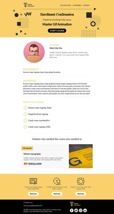 Customize this email design template with your content and push it to you favorite sending platform, such as Mailchimp, Sendinblue, Hubspot, Campaign Monitor etc. BEE is the easiest and quickest way to design elegant, mobile responsive emails, starting from scratch or from our 440+ ready-to-use templates.Visit the link above to have a look to our template! #emaildesign #emailtemplate #educational  Designed by Regina Tagirova Professional Email Templates, Html Email Templates, Email Template Design, Email Design, Design Templates, Responsive Email, Mobile Responsive, Caramel Icing, Bee Free