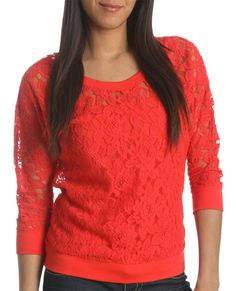 Lace Long Sleeve Sweatshirt   Shop Clearance at Wet Seal