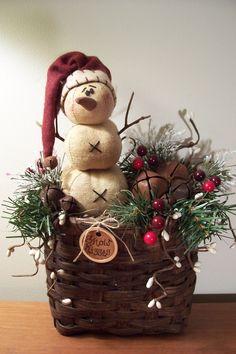 Woven basket with Prim Snowman