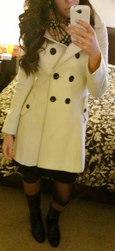 White pea coat, black wrap dress, plaid scarf, Michael Kors watch, two-toned riding boots