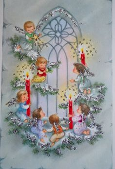 Vintage Christmas Card - Snowy Glitter Peace on Earth Candle Angels Catherdral Window - UNUSED