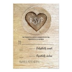 "Rustic country wood heart wedding RSVP cards 3.5"" X 5"" Invitation Card"
