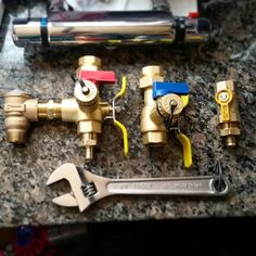 Installing isolation valves/unions for the #hot #water #heater but gotta wait on a few parts... #tinyhouse #plumbing #project #projects #thow #tiny #wrench #tools #shower #bathroom #waterheater #install