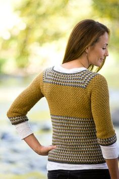 Woman's ¾ sleeve, v-neck crochet cardigan in seed stitch pattern with striped collar, cuff, and edging. Worked from the bottom-up. Crochet Coat, Crochet Jacket, Crochet Cardigan, Crochet Clothes, Crochet Shrugs, Crochet Sweaters, Only Cardigan, Diy Crochet Projects, Freeform Crochet