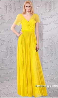 http://www.ikmdresses.com/fabulous-capsleeves-V-neck-knotted-front-semi-silk-chiffon-gown-Inspired-Yellow-Dresses-p60778