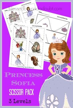 FREE Princess Sofia scissor packet. Your princess will excel in scissor cutting in no time with these FREE printables.