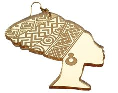 African woman head wrap silhouette gold mirror by Beemagine, £5.99