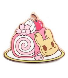 Chirii Bunny almond cookies, and a sweet, floral, sakura roll cake, make up the charm in this cafe inspired sweet pin Created by Tasty Peach Studios! Tasty Peach Studios, Sakura Painting, Kawaii Diy, Diy Artwork, Holly Hobbie, Cat Pin, Cool Pins, Pin And Patches, Old Toys