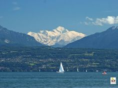 Morges, Switzerland - with a view of Mont Blanc over the lake of Genève (Lac Leman) © MRT/Marc Beartsch Somewhere Over, Swiss Alps, Mountain Landscape, Places To Go, Images, France, Mountains, Nature, Travel