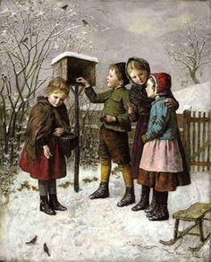 """Feeding The Birds In Winter"" -- by Edmund Adler (1876 – 1965, Austrian)"