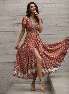 Dress - $59.99 - Floral V-Neckline Short Sleeve Maxi A-line Dress (1955184519)