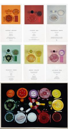 sophie calle / chromatic diet (a week of eating colour coordinated meals).