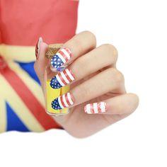 Fashion DIY Nail Art Stickers Impressionism USA Flag Fast Instant Decor Nail Foil Wrap Decorations #Affiliate