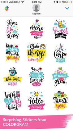 Colorgram Adult coloring book by 4 Axis Solutions (Pvt) Ltd Printable Planner Stickers, Journal Stickers, Scrapbook Stickers, Scrapbook Paper, Calligraphy Quotes Doodles, Brush Lettering Quotes, Coloring Books, Adult Coloring, Aesthetic Stickers