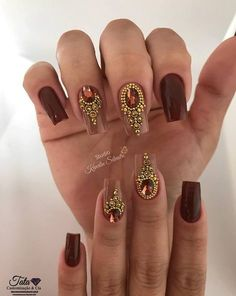 Ideas Indian Bridal Nails Designs Beautiful For 2019 Gem Nails, Bling Nails, Swag Nails, Cute Nails, Pretty Nails, Bridal Nails Designs, Nail Jewels, Nail Polish Art, Square Nails