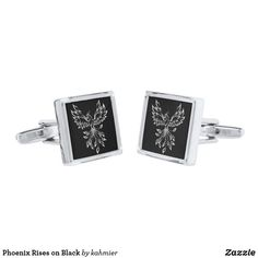 Phoenix Rises on Black Cufflinks
