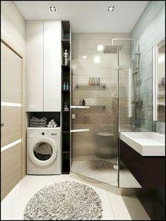 Ideas bathroom cabinets washing machine for 2019 Small Bathroom Layout, Narrow Bathroom, Laundry In Bathroom, Modern Bathroom Design, Bathroom Interior Design, Bathroom Cabinets, Vintage Bathrooms, Laundry Room Design, Bathroom Renovations