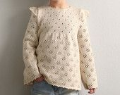 Hand Knit All Seasons Cashmere Blend Girls Sweater / Pullover - Off White/Ivory