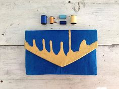 Blue and gold envelope clutch/custom canvas bag with 10 color options perfect gift for her/clutch purse/envelope clutch