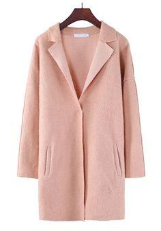 Khaki Plain Turndown Collar Single Button Wool Coat - Outerwears - Tops