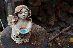 Vánoční andělka keramika sklo svíčka plastika světlo miska anděl křídla keramický světlonoš
