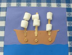 Pirate Ship Craft - love the marshmallow sails! Just needs a jolly roger flag! Pirate Ship Craft, Pirate Art, Pirate Theme, Pirate Ships, Boat Crafts, Easy Crafts, Crafts For Kids, Ocean Crafts, Pirate Activities