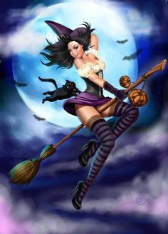 Halloween Witch Pin-Up Halloween Pin Up, Halloween Kunst, Halloween Artwork, Vintage Halloween, Halloween Witches, Happy Halloween, Fantasy Girl, Dark Fantasy, Fantasy Witch