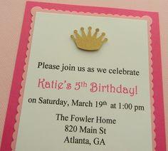 handmade PRINCESS birthday party invitation by plumcakeparties, $2.25
