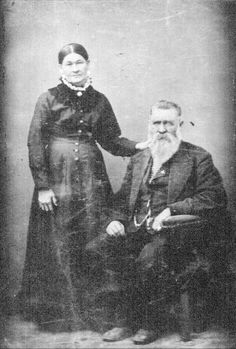 A formal portrait of Nicholas Earp and of his second wife, Virginia Ann Cooksey Earp, c 1880 to 1899. The parents of the Earp brothers.