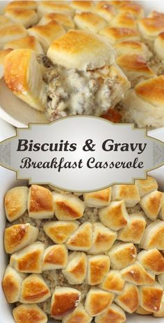 Biscuits And Gravy Breakfast Casserole RecipeYou can find Brunch recipes and more on our website.Biscuits And Gravy Breakfast Casserole Recipe Breakfast And Brunch, Breakfast Dishes, Easy Breakfast Ideas, Breakfast Sausage Recipes, Brunch Ideas For A Crowd, Delicious Breakfast Recipes, Breakfast Bake, Sausage Meals, Sausage Bread