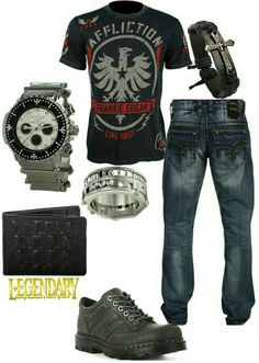 Men's fashion casual jeans outfit with Affliction