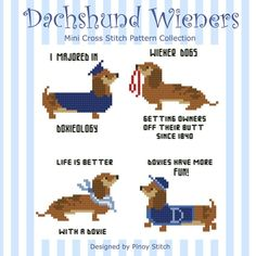 Dachshund Wiener Dogs Collection PDF Cross Stitch Chart by PinoyStitch on Etsy