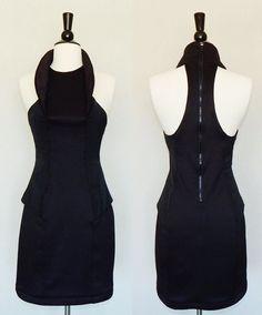CAMILLA AND MARC Black Modern Variable Stretch T-Back Exposed Zipper Dress - 6 #CamillaandMarc #StretchBodycon #LittleBlackDress
