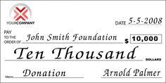 Custom Oversized Donation Check