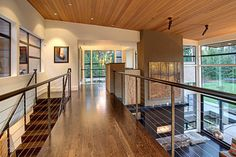 White oak with espresso stain  Forest House - Living Area - contemporary - living room - seattle - McClellan Architects
